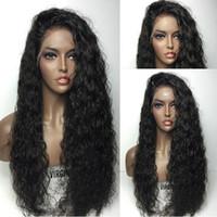 jolies perruques pour femmes achat en gros de-Jolie pas cher sexy 100% non transformée vierge remy vierge de cheveux humains longue couleur naturelle vague d'eau pleine perruque de bonnet de dentelle pour les femmes