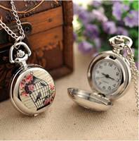 relojes de bolsillo de aves antiguos al por mayor-Classic Vintage Antique Relojes de bolsillo con cadena larga Bird Cage Sliver Color Unisex collar Reloj de regalo