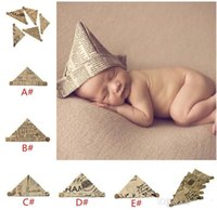 Wholesale vintage newborn photography props resale online - Handmade baby Newspaper Hat Infant Bonnet baby Vintage Photography props foldable newborn hat for Mos TO420