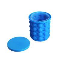 Wholesale ice maker box - 2018 Silicone Ice Cube Maker Genie Silicone Ice Cuber Maker Mold Cube Space Saving Kitchen Bar Tools Bar Ice Buckets Retail Box