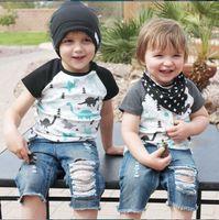 Wholesale baby boy jeans months - Fashion Baby Boys Dinosaur T-shirt+ Jeans 2PCS set Summer Kids Sportswear Black Gray Brother Twins Wear Kids Boy Boutique Clothes