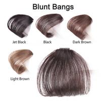 franja de pelo marrón al por mayor-Neat Front False Fringe Clip delgado en Blunt Bangs Black / Brown Hairpiece con cabello sintético de alta temperatura Golden Beauty