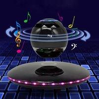 manyetik kaldırma hoparlörleri toptan satış-Özgünlük yedi renkli parlaklık akıllı rotasyon manyetik levitasyonunun Bluetooth hoparlörler dokunmatik 360 ° stereo surround ses uzun dayanıklı