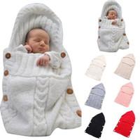cochecito para el invierno al por mayor-Recién nacido de sacos de dormir de bebé Mantas hechas a mano de bebé Niño abrigos de invierno Foto Swaddling Nursery ropa de cama de carrito de compras Swaddle Robe OOA3850