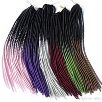 Wholesale crochet synthetic hair weave for sale - 18 inch Faux Locs Crochet Ombre Color Hair Extensions Synthetic Crochet Braid Hair roots g Havana Mambo Faux Locs Weaving