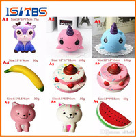 Wholesale movie cups - 9A style Bread Squishy Slow Rising French Fries Soft Ice Cream Coffee Cup Scented Banana Stretch Donut Milk squeeze bottle Toy
