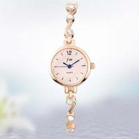 Discount bracelet small stone - JW Brand Small Dial Rose Gold Silver Women's Wrist Chain Bracelet Watches With Elegant Stone Fashion Quartz Dress Wristwatches