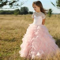 kızlar için pembe dantel şortu toptan satış-Sevimli Pembe Tül Katmanlı Ruffles A Hattı Çiçek Kız Elbise Kısa Kollu Dantel prenses Düğün Törenlerinde Çocuklar için Güzel Kız 'Elbiseler