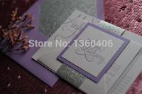 papel de tipografía al por mayor-La boda de lujo tipográfica de lavanda púrpura invita a la impresión personalizada con papel glitter