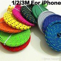 iphone flach großhandel-# 153 3FT / 1M 6FT / 2M 10FT / 3M Bunte flache geflochtene Fabic Woven USB-Daten-Synchronisierungsgebühr für iphone IOS-Kabel