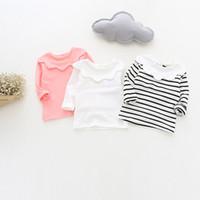 358b37e0e463 Baby Girl Clothing T shirts Cotton Striped Baby Girls Tshirts long sleeves Fashion  Children Flower Collar T shirts Kids Tops