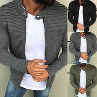 outfits baseballjacken großhandel-Arbeiten Sie Mens beiläufige dünne Jacken-warme Herbst-Winter-Baseball-Mantel Outwear Outfits neue Mann-Jacke 2018 um