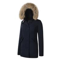 ingrosso giacche donna-2019 Brand New Big Raccoon pelliccia vera immagine Womens artico Parka inverno caldo giacca vera piuma Piuma giù cappotto