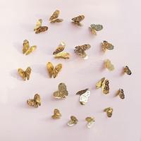 fondo de pantalla de oro al por mayor-Metal textura mariposa pegatinas de pared 3d ahueca oro plata decorar papel tapiz sala de estar dormitorio decoración 3 3ks Ww