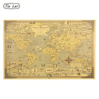 Shop map world poster uk map world poster free delivery to uk 1pc vintage world map great building kraft paper poster wall sticker art craft map bar cafe decor 685x515cm gumiabroncs Gallery