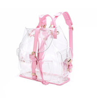 Wholesale cute backpacks resale online - 2018 New Fashion Girl Pink Clear Cute Waterproof PVC Transparent Backpack School Bag Travel Bag Color Pink