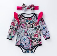 bebek kafatası giysileri toptan satış-Yenidoğan bebekler cadılar bayramı giyinmek tulum kafatası baskılı uzun kollu bebek bodysuit ile kafa bandı bebek yürümeye başlayan ...
