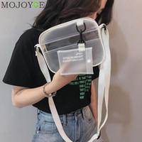 yaz beyaz çantaları toptan satış-Yaz 2 In 1 Torba Kadın Fermuar Çanta Tasarımcısı 2018 Yeni PVC Jöle Omuz Çantası Kadın Beyaz Şeffaf Messenger Çanta Kızlar