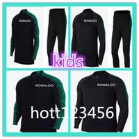 Wholesale teen boys clothing - 2018 Top Thailand World Cup teens RONALDO soccer tracksuit 18-19 PORTUGALS Training suit kids football training clothes sportswear kit