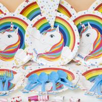 dekorasyon saman toptan satış-Unicorn Tema Sofra Fincan Saman Plaka Peçeteler Şeker Kutusu Afiş Karikatür Parti çocuk Doğum Günü Partisi Süslemeleri Malzemeleri BBA68