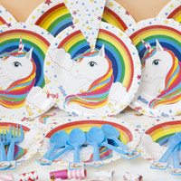 Wholesale plate candy box - Unicorn Theme Tableware Cup Straw Plate Napkins Candy Box Banner Cartoon Party Kid's Birthday Party Decorations Supplies BBA68