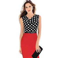 e6036135b3685 Toptan Sıcak Satış Yeni Polka Dot Kolsuz Diz boyu Kalem Parti Akşam Kadınlar  Elbiseler Boyut S M L XL XXL