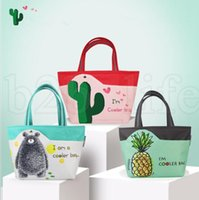 Wholesale Printed Storage Boxes - Cooler bag School Picnic Lunch Box Cactus pineapple print Portable Food Storage Outdoor Picnic Cooler Container mommy bag LJJK1020