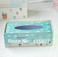 Wholesale Blue Napkins Paper - Wholesale- Free Shipping!Light blue color Tissues box napkin box New fashion Facial paper case tin box tissues storage weddig gift