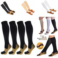 Wholesale support relief - Miracle Copper Socks Anti Fatigue Copper Infused Fibers Stockings Compression Relief Support Calf Socks Unisex Women Men Foot Care AAA345
