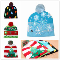 Wholesale kid crochet hat online - 4 Styles LED Light Knitted Christmas Hat Unisex Adults Kids New Year Xmas Luminous Flashing Knitting Crochet Hat Party Favor CCA10262