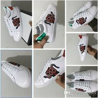 Wholesale G W - New Luxury Brand G Colorful SNAKE shoes Super quality Casual lShoes Ace Sneaker with Removable Patches Embroidered Fashion shoes