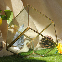 innenausstattung groihandel-Garden Miniature Glass Terrarium Geometric Diamond Desktop Garden Planter For Indoor Gardening Home Decor Vases HH7-1181
