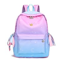 Wholesale backpacks for embroidery for sale - Group buy 2018 New Preppy Style Ribbon Backpack Crown Embroidery Gradient School Backpacks for Teenage Girls Schoolbag Mochilas Feminina