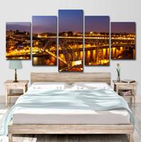 ingrosso luci ponte-Wall Art Poster Prints Nightscape Quadri in tela 5 Pezzi Porto Ponte Dom Luis I Luci di ponte Dipinto Living Room Home Decor