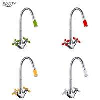 kırmızı musluklar toptan satış-Toptan Yenilikçi Moda Mutfak Mikser Soğuk ve Sıcak Su Esnek Mutfak Dokunun Kırmızı Sarı Yeşil Beyaz Musluklar Torneira r43127-6