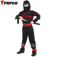 décorations de ninja achat en gros de-TPRPCO Classique Halloween Costumes Cosplay ninja Costumes pour enfants Fantaisie Décorations De Fête fournitures enfants NL118