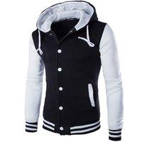 Wholesale Varsity Jacket Designs - Wholesale- New Hooded Baseball Jacket Men 2017 Fashion Design Black Mens Slim Fit Varsity Jacket Brand Stylish College Jacekt Veste Homme