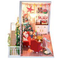ingrosso case in legno in miniatura di legno-Fai-da-te casa natale cottage casa delle bambole case delle bambole in legno casa delle bambole in miniatura kit di giocattoli per bambini regalo di natale