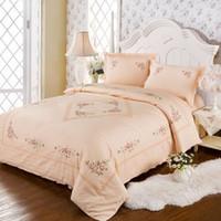Wholesale Wedding Bedding Sets Lace - 100% cotton Salmon color jacquard Cross stitch lace 4 pieces bedding sets Wedding four- piece kit large size