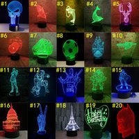 Wholesale novelty animal lamp online - 3D led lights Color Touch Switch LED Night Light Acrylic d optical illusion lamp Atmosphere Novelty Lighting Pattern Optional
