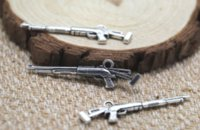 Wholesale sniper pendants for sale - 15pcs Sniper Rifle Charms Silver tone sided Rifle gun Charms pendant x11mm