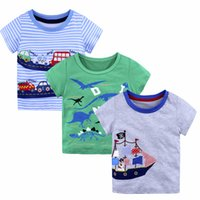Wholesale Cartoon Kids Tees - 16 Styles Summer Baby Boys T Shirts 2018 New Fashion Cartoon Animal Patterns Printed Striped Tees Tops Kids Boutique Clothing Tees