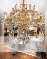 tom dixon lamba bakır toptan satış-Modern Kristal Avize Oturma Odası cilalar de cristal Dekorasyon Tiffany Kolye ve Avizeler Ev Aydınlatma Kapalı Lamba