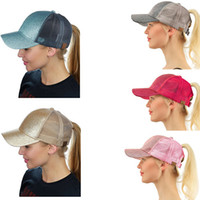 Wholesale hiphop hats girls - Summer Women Girls CC Glitter Ponytail Baseball Caps Fashion Net Sunshade Back Hole Basketball Hats HipHop Street Hats Pony Tail Visor New
