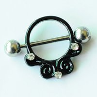 anillos de pezón negro al por mayor-D0702 (1 color) Nipple color negro ombligo anillo del ombligo piercing cuerpo jewlery 1.6 * 11 * 5/8 anillo del vientre joyería del cuerpo