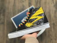 Wholesale Womens Leisure Shoes - GD Vault x Bad Brains Classic Sk8-Hi LX High Black Yellow Wheat Mens Womens Casual Shoes,Canvas SK8-MID Men Sports Skate Running Sneakers