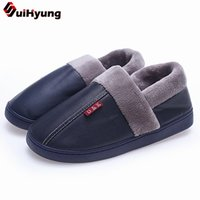 20a20ea03a92 wholesale Winter Indoor Slippers New Women Men Warm Plush Home Slippers Soft  PU Leather Fleece Insole Cotton Flat Shoes Slip-ON