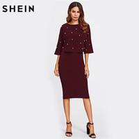 SHEIN Women Autumn Two Piece Outfit Borgogna tre quarti manica manica  impreziosito fronte superiore e gonna a matita set 984ff2ac941