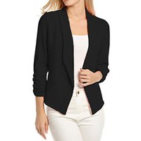 2018 Moda Donna Elegante Dolce Donna 3 4 manica Blazer Aperto anteriore  Breve Cardigan Suit Jacket Work Office Coat womans abbigliamento 8d823eea552
