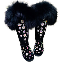 zorro negro zorro negro al por mayor-Botas de nieve de ultra alto cristal Negro Rhineston Mujer Invierno Lujo bling bling Botas de nieve Zapatos de invierno hechos a mano Fox pelo